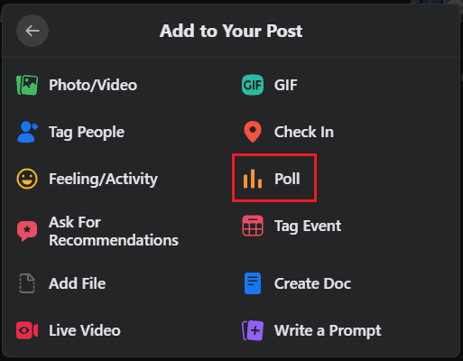 how to create a poll on facebook group