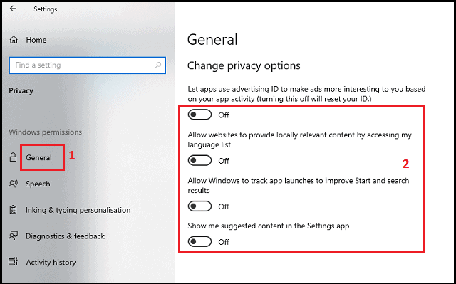 windows 10 privacy settings to turn off