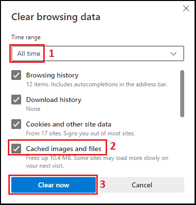 how to clear cache on Microsoft edge