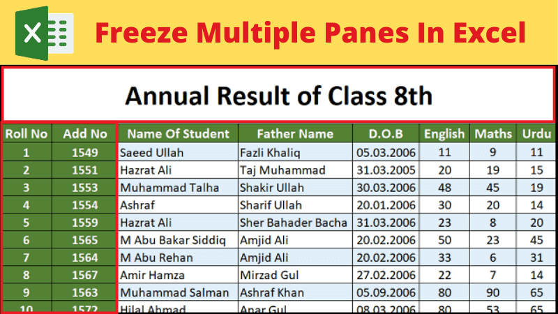 how to freeze multiple panes in MS Excel