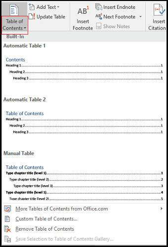 how to make table of contents in MS word
