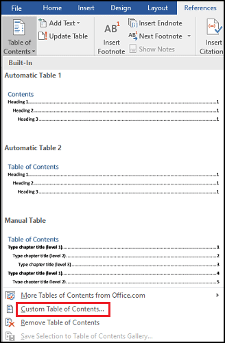 how to add table of contents in MS word