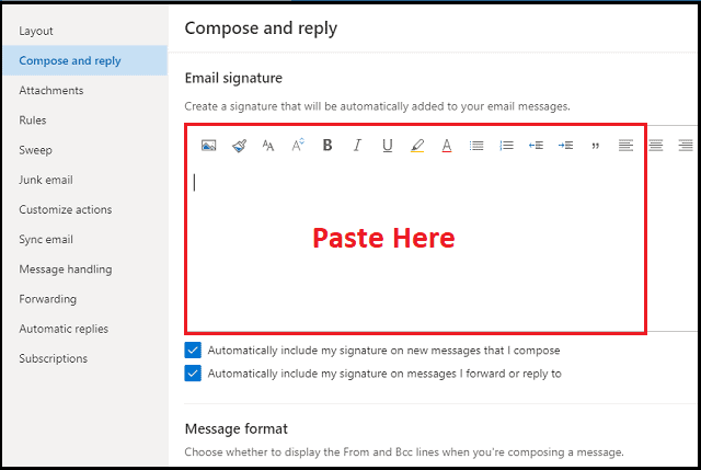 how to add signature in office 365 outlook email