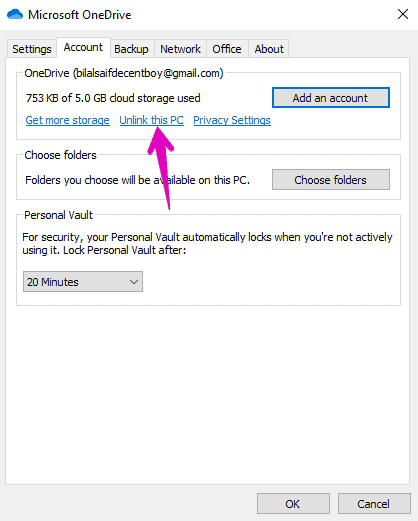 how to change OneDrive Location